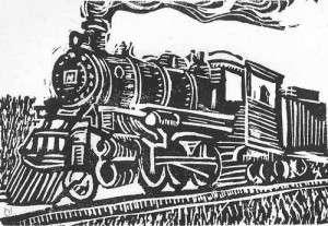 Train woodcut