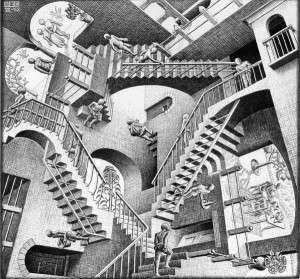 Relativity, by M.C. Escher