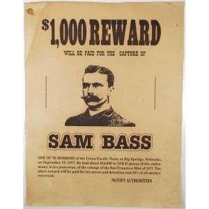 Sam Bass Wanted Posterjpg