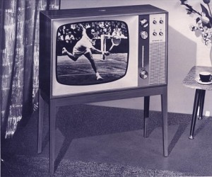 B&W TV tennis player