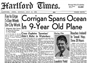Wrong Way Corrigan headline