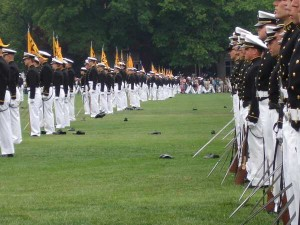 Navy cadets with swords